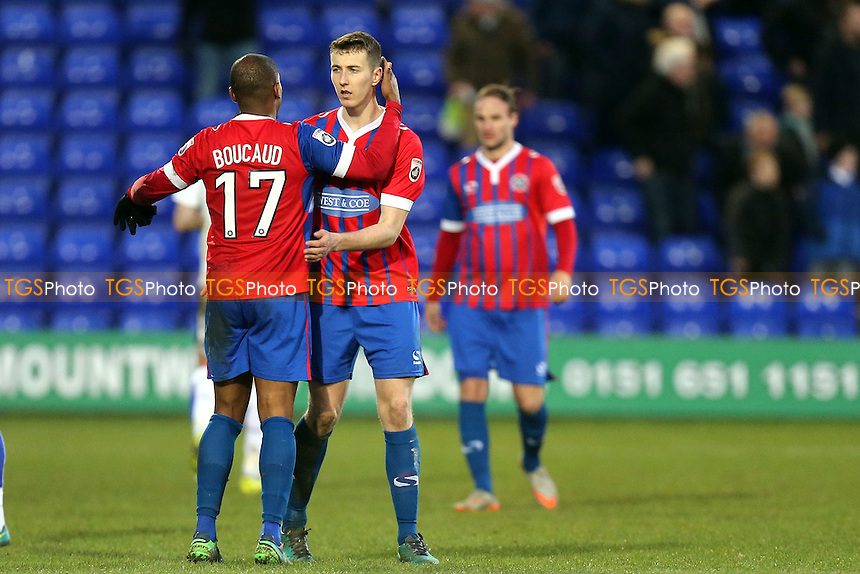 Daggers players celebrate the victory after Tranmere Rovers vs Dagenham & Redbridge, Vanarama National League Football at Prenton Park on 28th January 2017