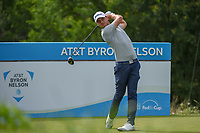 Adam Svensson (CAN) watches his tee shot on 15 during the round 1 of the AT&T Byron Nelson, Trinity Forest Golf Club, Dallas, Texas, USA. 5/9/2019.<br /> Picture: Golffile | Ken Murray<br /> <br /> <br /> All photo usage must carry mandatory copyright credit (© Golffile | Ken Murray)