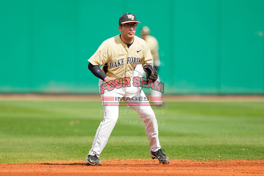 Shortstop Pat Blair #11 of the Wake Forest Demon Deacons on defense against the LSU Tigers at Alex Box Stadium on February 20, 2011 in Baton Rouge, Louisiana.  The Tigers defeated the Demon Deacons 9-1.  Photo by Brian Westerholt / Four Seam Images