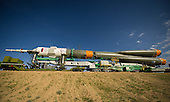 The Soyuz TMA-04M spacecraft is rolled out by train to the launch pad at the Baikonur Cosmodrome in Kazakhstan, Sunday, May 13, 2012.  The launch of the Soyuz spacecraft with Expedition 31 Soyuz Commander Gennady Padalka and Flight Engineer Sergei Revin of Russia, and prime NASA Flight Engineer Joe Acaba is scheduled for 9:01 a.m. local time on Tuesday, May 15, 2012..Mandatory Credit: Bill Ingalls / NASA via CNP