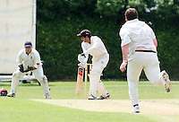 A Ison of Upminster finds the edge of T Shazhad's bat and M Squibb (L) takes the catch - Upminster CC vs Gidea Park & Romford CC - Essex Cricket League at Upminster Park - 27/06/09- MANDATORY CREDIT: Gavin Ellis/TGSPHOTO - Self billing applies where appropriate - 0845 094 6026 - contact@tgsphoto.co.uk - NO UNPAID USE.
