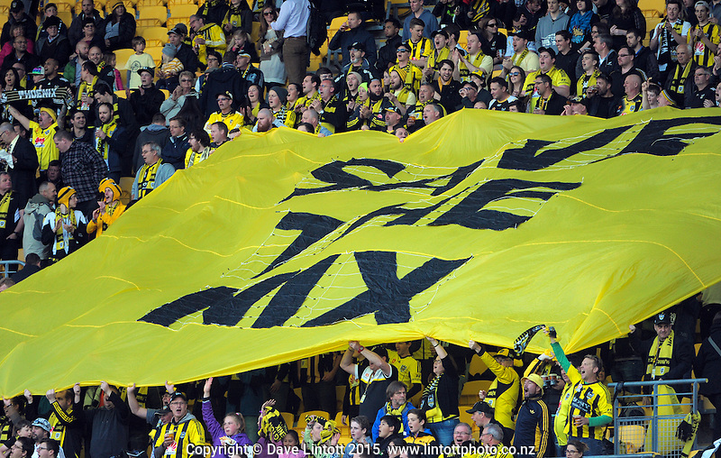 "Yellow Fever fans unveil a ""Save The Nix"" banner during the A-League football match between Wellington Phoenix and Adelaide United at Westpac Stadium, Wellington, New Zealand on Friday, 13 November 2015. Photo: Dave Lintott / lintottphoto.co.nz"