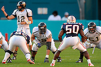 29 November 2008:  FIU offensive lineman Andy Leavine (58), with his face painted, waits for play to begin in the FAU 57-50 overtime victory over FIU in the annual Shula Bowl at Dolphin Stadium in Miami, Florida.