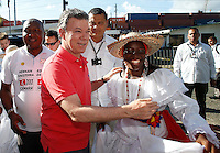BOGOTA, Colombia. 31 May 2014. The President of Colombia and candidate, Juan Manuel Santos greets a young arrival at the Colosseum District in Buenaventura. Photo by SANTOS Campaign/Daniel Munoz / VIEWpress TO EDITORS : THIS PICTURE WAS PROVIDED BY A THIRD PARTY.  THIS PICTURE IS DISTRIBUTED EXACTLY AS RECEIVED BY VIEWpress, AS A SERVICE TO CLIENTS