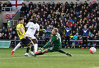 Bafetimbi Gomis of Swansea scores his sides second goal   during the Emirates FA Cup 3rd Round between Oxford United v Swansea     played at Kassam Stadium  on 10th January 2016 in Oxford