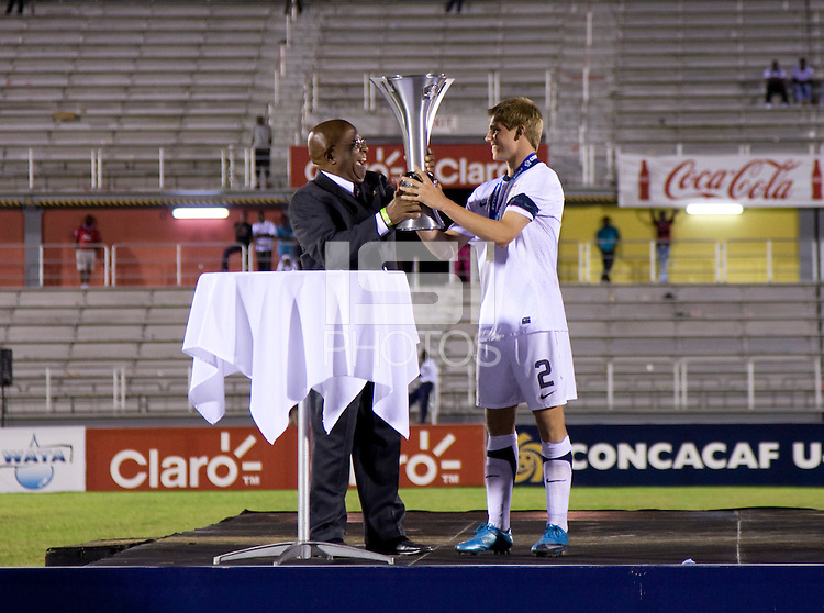 Andrew Souders, trophy. The United States defeated Canada, 3-0, during the final game of the CONCACAF Men's Under 17 Championship at Catherine Hall Stadium in Montego Bay, Jamaica.