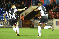 Omar Bogle of Grimsby Town celebrates scoring their second goal during the Vanarama National League match between Aldershot Town and Grimsby Town at the EBB Stadium, Aldershot, England on 5 April 2016. Photo by Paul Paxford / PRiME Media Images.