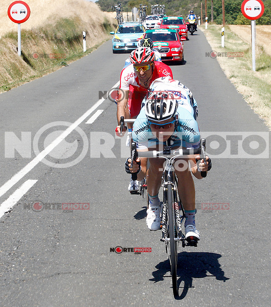 Tony Martin (f) and Luis Angel Mate (b) during the stage of La Vuelta 2012 between Barakaldo and Valdezcaray.August 21,2012. (ALTERPHOTOS/Paola Otero) /NortePhoto.com
