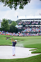 Bryson DeChambeau (USA) hits from the trap on 18 during Sunday's final round of the PGA Championship at the Quail Hollow Club in Charlotte, North Carolina. 8/13/2017.<br /> Picture: Golffile | Ken Murray<br /> <br /> <br /> All photo usage must carry mandatory copyright credit (&copy; Golffile | Ken Murray)