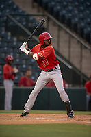 AZL Angels center fielder Trent Deveaux (17) at bat during an Arizona League game against the AZL Diamondbacks at Tempe Diablo Stadium on June 27, 2018 in Tempe, Arizona. AZL Angels defeated the AZL Diamondbacks 5-3. (Zachary Lucy/Four Seam Images)
