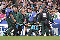 Injured New Zealand centre Ryan Crotty is stretchered off the pitch with a suspected broken ankle during the U19 Championship final against South Africa at Ravenhill, Belfast.