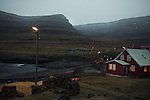 The village of Svínoy settles down for the night in the Faroe Islands.
