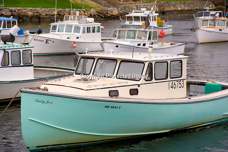 Lobster Boats Moored in the Fishing Harbor of Ogunquit, Maine