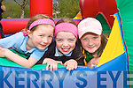 .FUN TIME: Pupils from Castledrum National School at a Green Flag ceremony at the school on Thursday last..L/r.Katie Elliott, Eimear Long and Laura Prendergast.   Copyright Kerry's Eye 2008