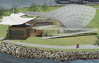 Symphony Summer Pops, Bird Closer. Stage and in back of stage amenities are nested under a domineerign lattice steel tube shell of 45 ft. height. Main entrance from back side. Ceremonial ramp from left of stage leads to a deck above for VIP events and bay view. Mitra Kanaani, architect.
