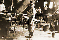 "Historical Views:  ""Factory Boy, Glassworks 1909.""--a Lewis Hine photograph.  Photo '78.   Reference only."