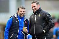 Lincoln City's goalkeeping coach Jimmy Walker, left, and Notts County manager Kevin Nolan<br /> <br /> Photographer Chris Vaughan/CameraSport<br /> <br /> The EFL Sky Bet League Two - Lincoln City v Notts County - Saturday 13th January 2018 - Sincil Bank - Lincoln<br /> <br /> World Copyright &copy; 2018 CameraSport. All rights reserved. 43 Linden Ave. Countesthorpe. Leicester. England. LE8 5PG - Tel: +44 (0) 116 277 4147 - admin@camerasport.com - www.camerasport.com