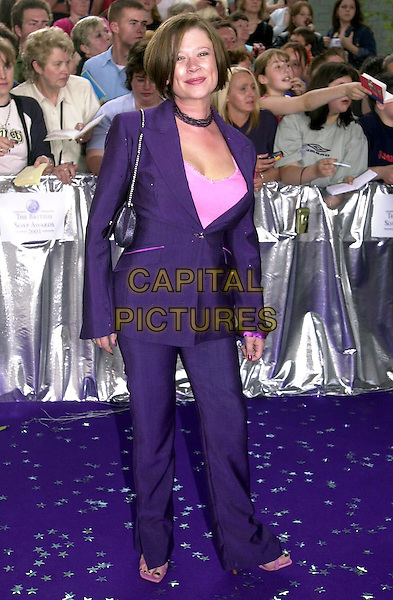 HANNAH WATERHEAD.The British Soap Awards 2001, London, 25th May 2001..full length purple suit.Ref: PL.www.capitalpictures.com.sales@capitalpictures.com.©Capital Pictures.