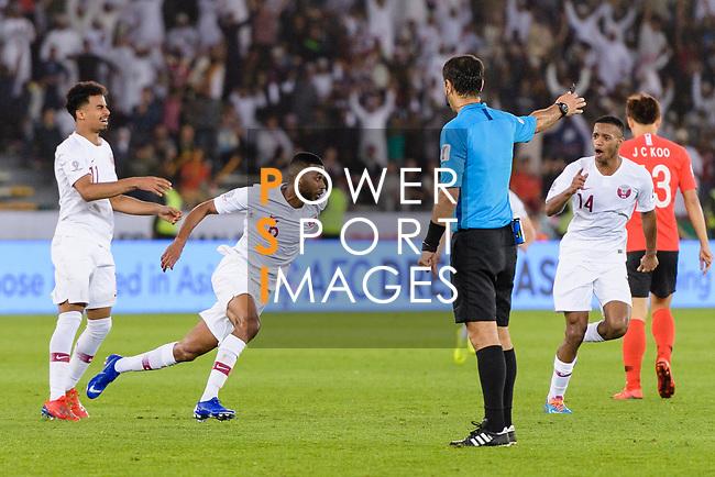 Abdel Aziz Hatim of Qatar (L2) celebrates after scoring his goal during the AFC Asian Cup UAE 2019 Quarter Finals match between Qatar (QAT) and South Korea (KOR) at Zayed Sports City Stadium  on 25 January 2019 in Abu Dhabi, United Arab Emirates. Photo by Marcio Rodrigo Machado / Power Sport Images
