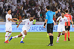 Abdel Aziz Hatim of Qatar (L2) celebrates after scoring his goal during the AFC Asian Cup UAE 2019 Quarter Finals match between Qatar (QAT) and South Korea (KOR) at Zayed Sports City Stadium  on 25 January 2019 in Abu Dhabi, United Arab Emirates. Photo by Marcio Rodrigo Machado / Power Sport Images