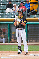 Alex Yarbrough (9) of the Salt Lake Bees comes to the plate against the Colorado Springs Sky Sox in Pacific Coast League action at Smith's Ballpark on May 24, 2015 in Salt Lake City, Utah.  (Stephen Smith/Four Seam Images)