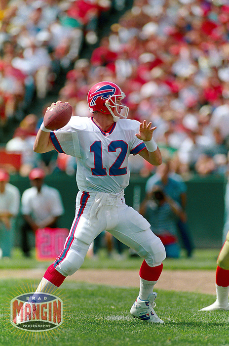 SAN FRANCISCO, CA - Quarterback Jim Kelly of the Buffalo Bills in action during a game against the San Francisco 49ers at Candlestick Park in San Francisco, California in 1992. Photo by Brad Mangin