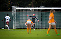 STANFORD, CA - November 23, 2018: Alison Jahansouz, Naomi Girma at Laird Q. Cagan Stadium. The top seeded Stanford Cardinal defeated the Tennessee Volunteers 2-0 in the Quarterfinal of the NCAA tournament.