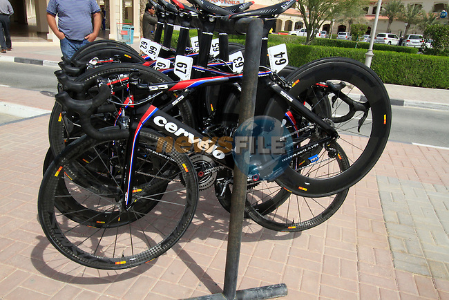 Radioshack-Nissan Trek bikes lined up before the start of the 3rd Stage of the 2012 Tour of Qatar outside Dukhan Souq, Dukhan, Qatar, 7th February 2012 (Photo Eoin Clarke/Newsfile)