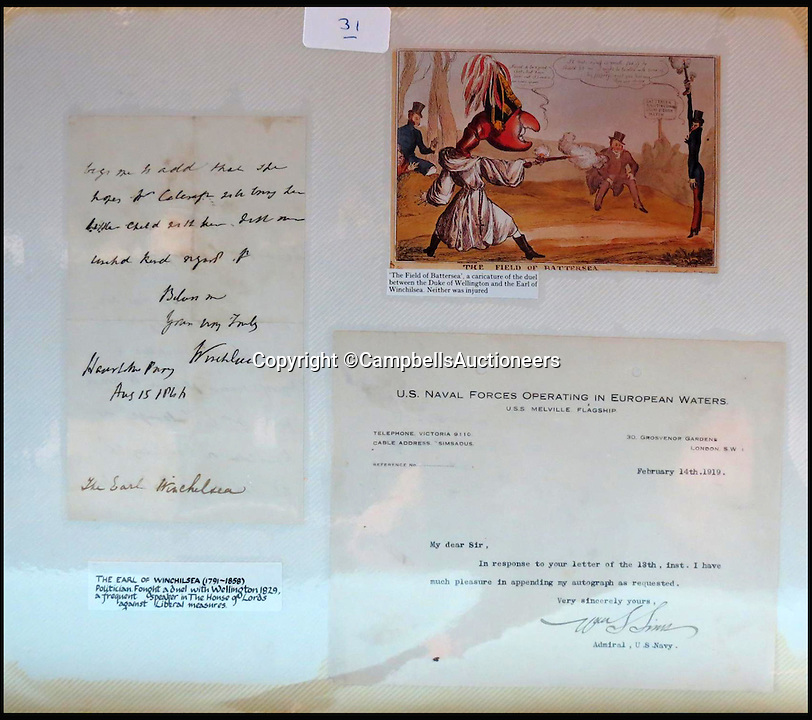 BNPS.co.uk (01202 558833)<br /> Pic: CampbellsAuctioneers/BNPS<br /> <br /> A signed letter by The Earl of Winchilsea.<br /> <br /> A magnificent collection of more than 1,000 signatures and letters from iconic historical figures including the Duke of Wellington, Picasso and Sir Winston Churchill have emerged for auction.<br /> <br /> The collection, which spans 300 years, was amassed by the late animal rights campaigner Jon Evans who meticulously framed or put the signatures in albums.<br /> <br /> Other famous figures in his collection include Charles Dickens, Sir Edmund Hilary, Mahatma Gandhi, Neil Armstrong, Lord Kitchener, Rudyard Kipling and Margaret Thatcher.<br /> <br /> The extensive array of documents is now expected to fetch &pound;30,000 at Campbells Auctioneers tomorrow (Tues).