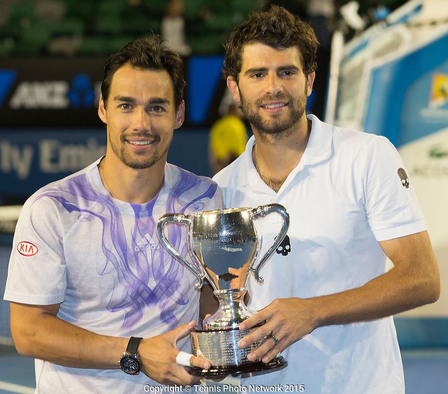 SIMONE BOLELLI (ITA) FABIO FOGNINI (ITA)<br /> <br /> Tennis - Australian Open 2015 - Grand Slam -  Melbourne Park - Melbourne - Victoria - Australia  - 31 January 2015. <br /> &copy; AMN IMAGES