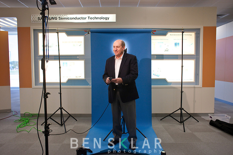 """Burton """"Buddy"""" Nicoson, Samsung Vice President of Fabrication Engineering, at a chip manufacturing campus in Austin, Texas on April 11, 2011. ."""