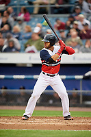 Syracuse Chiefs first baseman Jose Marmolejos (6) at bat during a game against the Scranton/Wilkes-Barre RailRiders on June 14, 2018 at NBT Bank Stadium in Syracuse, New York.  Scranton/Wilkes-Barre defeated Syracuse 9-5.  (Mike Janes/Four Seam Images)