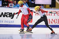 "SHORT TRACK: MOSCOW: Speed Skating Centre ""Krylatskoe"", 15-03-2015, ISU World Short Track Speed Skating Championships 2015, Quarterfinals 1000m Men, Charles HAMELIN (#110 | CAN), Shaolin Sandor LIU (#129 | HUN), ©photo Martin de Jong"