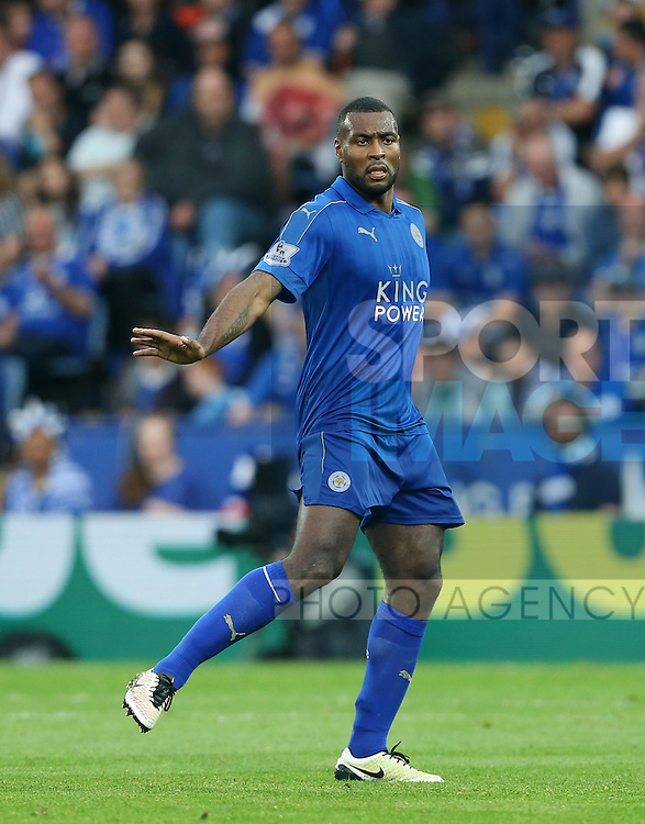 Leicester's Wes Morgan in action during the Barclays Premier League match at the King Power Stadium.  Photo credit should read: David Klein/Sportimage