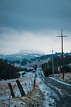 A rare late autumn snowfall covers the Sierra Foothill town of Jackson, Calif.<br /> <br /> French Bar Road