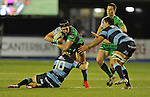 Connacht's Dave McSharry is tackled by Cardiff Blues' Gareth Anscombe<br /> Guiness Pro12<br /> Cardiff Blue v Connacht<br /> BT Sport Cardiff Arms Park<br /> 06.03.15<br /> &copy;Ian Cook -SPORTINGWALES