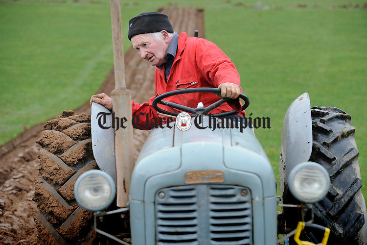 Phillip Cotter of Two Pot House taking part in the Clare Ploughing Association's county championships at Newmarket On Fergus. Photograph by John Kelly.