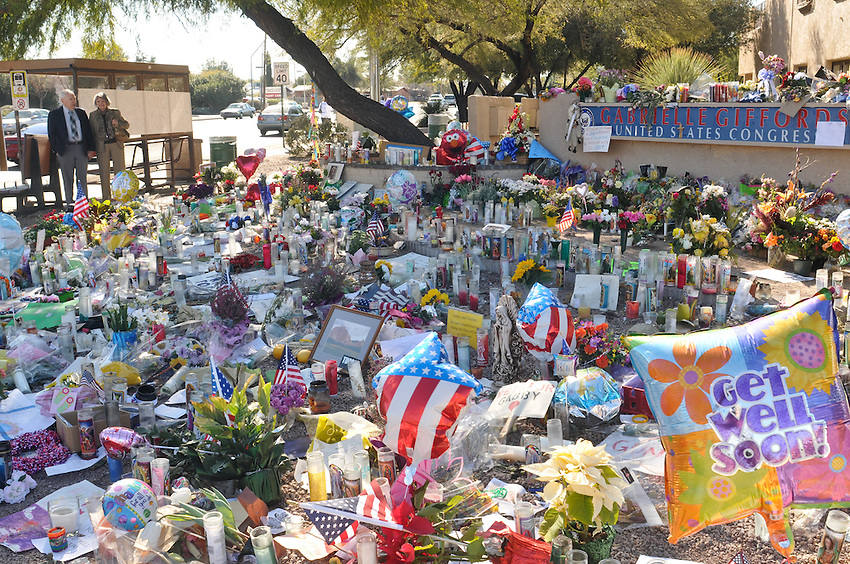 Three spontaneous shrines sprung up following the shooting of January 8th in Tucson Arizona. One was at Swan and Pima where the Congress women's offices were. The shooting scene and the front lawn of the University of Arizona's Medical Center.