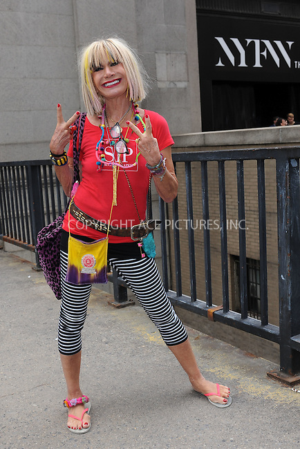 WWW.ACEPIXS.COM<br /> September 11, 2015 New York City<br /> <br /> Betsey Johnson seen at NYFW on <br /> September 11, 2015 in New York City.<br /> <br /> Credit: Kristin Callahan/AcePictures<br /> <br /> Tel: (646) 769 0430<br /> e-mail: info@acepixs.com<br /> web: http://www.acepixs.com