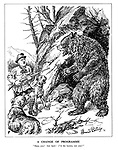 "A Change of Programme. ""Here, you! Get back! I'M the hunter, not you!"" (Hitler the hunter with his dog hounds are confronted with the large Russian Bear)"