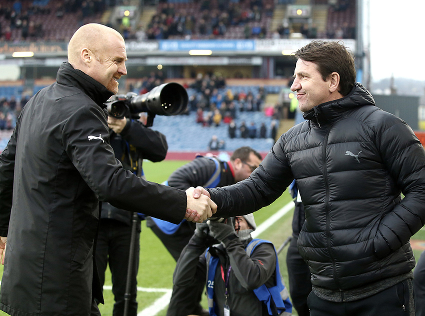 Burnley manager Sean Dyche greets Barnsley manager Daniel Stendel ahead of kick-off<br /> <br /> Photographer Rich Linley/CameraSport<br /> <br /> Emirates FA Cup Third Round - Burnley v Barnsley - Saturday 5th January 2019 - Turf Moor - Burnley<br />  <br /> World Copyright © 2019 CameraSport. All rights reserved. 43 Linden Ave. Countesthorpe. Leicester. England. LE8 5PG - Tel: +44 (0) 116 277 4147 - admin@camerasport.com - www.camerasport.com
