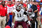 Texas A&M Aggies wide receiver Josh Reynolds (11) in action during the game between the Texas A&M Aggies and the SMU Mustangs at the Gerald J. Ford Stadium in Fort Worth, Texas. A&M leads SMU 38 to 3 at halftime.