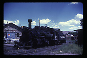 D&amp;RGW #473 at Durango with Telluride Iron Works in background.<br /> D&amp;RGW  Durango, CO