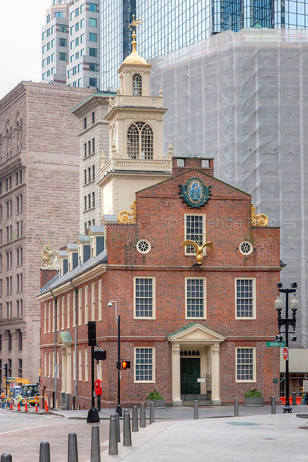 The Old State House amongst the modern buildings in the Financial District, Boston, Massachusetts