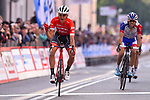 Toms Skujins (LAT) Trek-Segafredo wins the 98th edition of the Tre Valli Varesine 2018 from Thibaut Pinot (FRA) Groupama-FDJ, running 197km form Saronno to Varese, Italy. 9th October 2018.  <br /> Picture: Dario Belingheri/BettiniPhoto | Cyclefile<br /> <br /> <br /> All photos usage must carry mandatory copyright credit (&copy; Cyclefile | Dario Belingheri/BettiniPhoto)