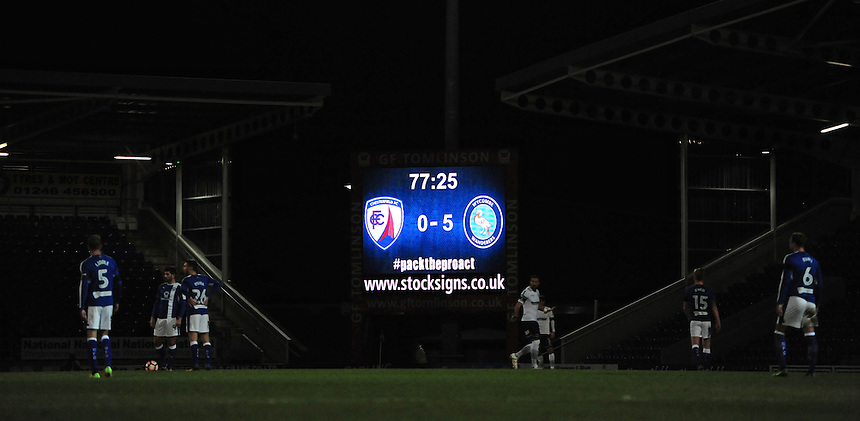 The score board at Chesterfield's Proact Stadium reads Chesterfield 0 - Wycombe 5<br /> <br /> Photographer Chris Vaughan/CameraSport<br /> <br /> The Emirates FA Cup Second Round - Chesterfield v Wycombe Wanderers - Saturday 3rd December 2016 - Proact Stadium - Chesterfield<br />  <br /> World Copyright &copy; 2016 CameraSport. All rights reserved. 43 Linden Ave. Countesthorpe. Leicester. England. LE8 5PG - Tel: +44 (0) 116 277 4147 - admin@camerasport.com - www.camerasport.com