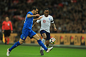 27th March 2018, Wembley Stadium, London, England; International Football Friendly, England versus Italy; Davide Zappacosta of Italy challenges Raheem Sterling of England