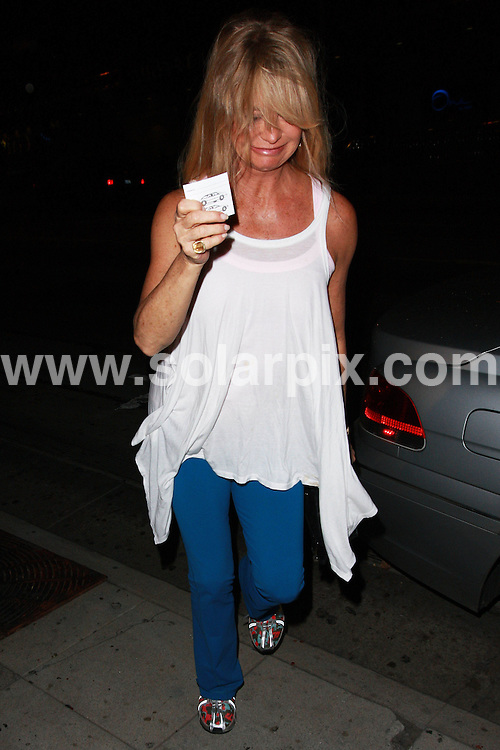 **ALL ROUND EXCLUSIVE PICTURES FROM SOLARPIX.COM**.**WORLDWIDE SYNDICATION RIGHTS**.**NO PUBLICATION IN AUSTRALIA, NEW ZEALAND,.DENMARK, GERMANY OR USA**.The Hollywood actress Goldie Hawn looks a little worse for wear at II Sole Restaurant in West Hollywood Los Angeles California in the  USA...JOB REF: 7542-LAP/JS       DATE:07_10_08 .**MUST CREDIT SOLARPIX.COM OR DOUBLE FEE WILL BE CHARGED* *UNDER NO CIRCUMSTANCES IS THIS IMAGE TO BE REPRODUCED FOR ANY ONLINE EDITION WITHOUT PRIOR PERMISSION*