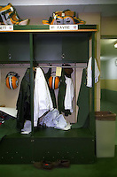 Green Bay Packers quarterback Brett Favre's locker on Jan. 9, 1997