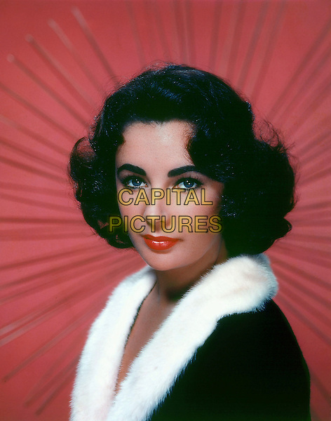 ELIZABETH TAYLOR.headshot portrait black white fur trim.*Editorial Use Only*.CAP/STF/PEL.Supplied by Capital Pictures.